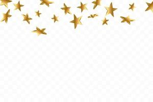 étoile 3d jaune or tombant. fond d'étoile de confettis de vecteur. carte dorée étoilée. confettis tombent décor chaotique.