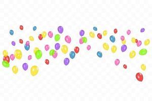 composition de couleurs de ballons réalistes de vecteur isolés. ballons isolés. pour les cartes de voeux d'anniversaire ou d'autres modèles