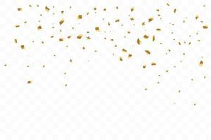 de nombreux confettis dorés de luxe tombant. fête d'anniversaire. illustration vectorielle vecteur