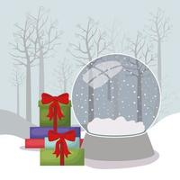 joyeux noël carte avec des cadeaux et boule de cristal vecteur