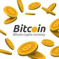 Signe de Bitcoin doré sur fond blanc