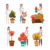 groupe de femmes avec des plantes dautomne vecteur