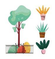 plantes d'automne avec clôture en métal et pots en céramique vecteur