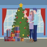 famille célébrant Noël à la maison