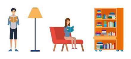 couple d & # 39; étudiants lisant des livres