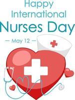 bonne police de la journée internationale des infirmières avec symbole médical croix