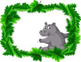bannière vide avec cadre de feuilles tropicales et personnage de dessin animé hippopotame