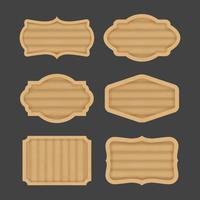 Conception de bannière étiquette de planche de bois vecteur