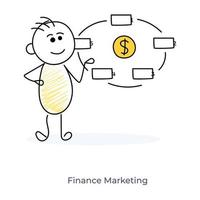 personnage de dessin animé et marketing financier