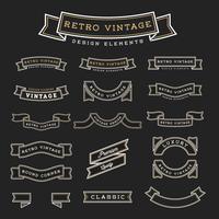Ensemble d'élément de conception de ruban vintage rétro vecteur