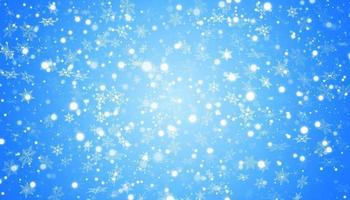 la neige blanche vole sur un fond bleu. flocons de neige de Noël. illustration de fond hiver blizzard. vecteur
