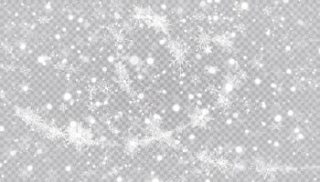 flocons de neige en forme de coeur dans un style plat en lignes de dessin continues. trace de poussière blanche. fond abstrait magique isolé. miracle et magie. vecteur