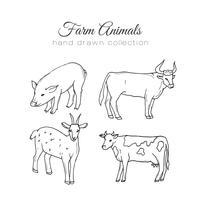 Illustration de l'agriculture Éléments de ferme de vecteur. Animaux de la ferme dessinés à la main. vecteur