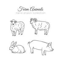 Illustration de l'agriculture Éléments de ferme de vecteur. Animaux de la ferme dessinés à la main.