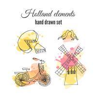 Éléments décoratifs de hollande de vecteur. Illustrations néerlandaises. Amsterdam vélo et moulin à vent. vecteur