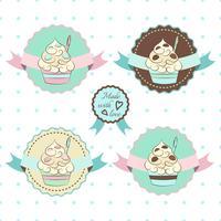 Logo de yaourt glacé. Desserts froids sucrés vecteur étiquettes