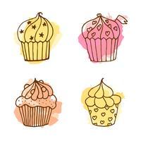 Illustration de cupcake de vecteur. vecteur