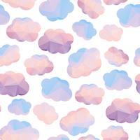Modèle sans couture polygonale avec des nuages. vecteur