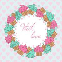 Couronne de cupcakes. Avec carte d'amour. vecteur