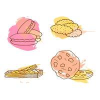 Illustration de vecteur de cookie. Ensemble de biscuits dessinés à la main avec des éclaboussures colorées.