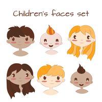 Illustration vectorielle de visages d'enfants heureux. Jeu de caractères de dessin animé mignon enfants.