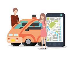 jeune couple avec voiture intelligente et appareil gps vecteur