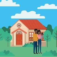 jeune couple afro en plein air la maison vecteur