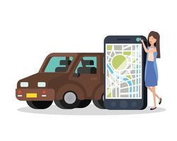 jeune femme avec application smartphone et gps vecteur