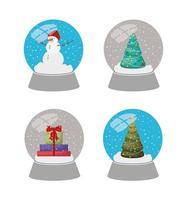 ensemble de boules de cristal fête de noël vecteur