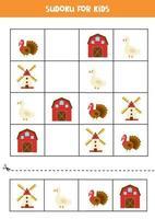 jeu de sudoku avec ferme de dessin animé, moulin, oie et dinde