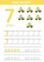traçage de la feuille de calcul des numéros avec taxi de dessin animé.