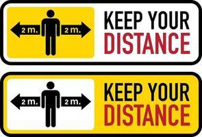 bannière de distanciation sociale. gardez votre distance fixe vecteur