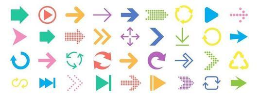 jeu d'icônes de signe de flèche. collection de flèches pour la conception Web, les applications mobiles, l'interface. vecteur