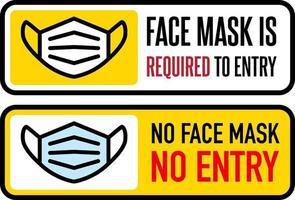 pas de masque facial, pas de jeu de signes d'entrée vecteur