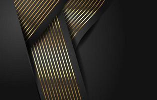 rayures dorées élégantes sur fond noir vecteur