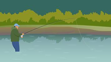 Vecteurs exceptionnels de pêcheur de mouche vecteur