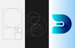 Or Ratio Template Logo Illustration vectorielle