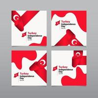 joyeux jour de l'indépendance de la Turquie célébration vecteur modèle illustration de conception
