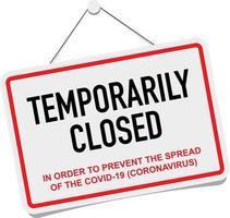 bureau temporairement fermé pour signe de coronavirus