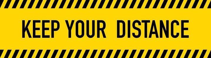 gardez votre distance ruban d'avertissement jaune vecteur