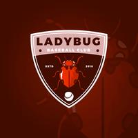 Logo mascotte Insecte plat Lady Bug Baseball Club avec insigne moderne modèle Illustration vectorielle vecteur