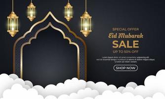 bannière promotionnelle de vente eid mubarak. vecteur