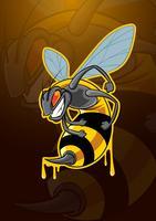 Logo de mascotte d'insecte d'abeille vecteur