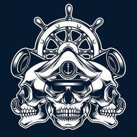 crâne marin et roue de bateau vecteur