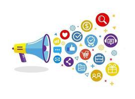 concept de marketing numérique avec mégaphone vecteur