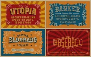 un ensemble de polices vintage, ces polices sont parfaites pour les phrases courtes ou les titres et peuvent être utilisées pour de nombreux produits créatifs tels que les étiquettes d'alcool, les emblèmes, les affiches et bien d'autres vecteur