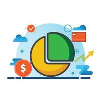 illustration de diagramme à secteurs. icône de vecteur plat. peut utiliser pour, élément de conception d'icône, interface utilisateur, web, application mobile.