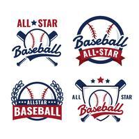 logo de baseball tous les insignes étoiles vecteur