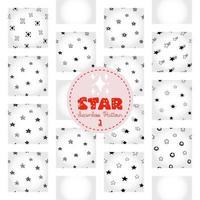 motif d'étoile, papier numérique de doodle astral dessiné à la main noir et blanc, étoiles abstraites répétant l'arrière-plan, le papier peint vecteur stellaire monochrome, élément décoratif étoilé mignon
