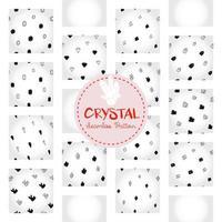 motif de cristal, papier numérique de doodle de gemme dessiné à la main en noir et blanc, cristaux abstraits répétant le fond, le papier peint vectoriel de grain monochrome, élément décoratif de gravier mignon